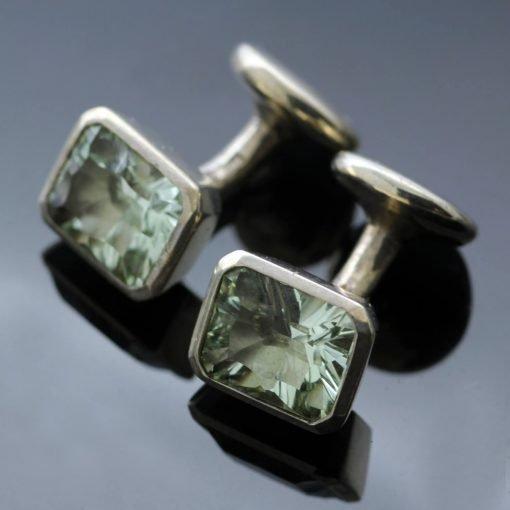 Gemstone Optix cut Prasiolite Silver mens cufflinks