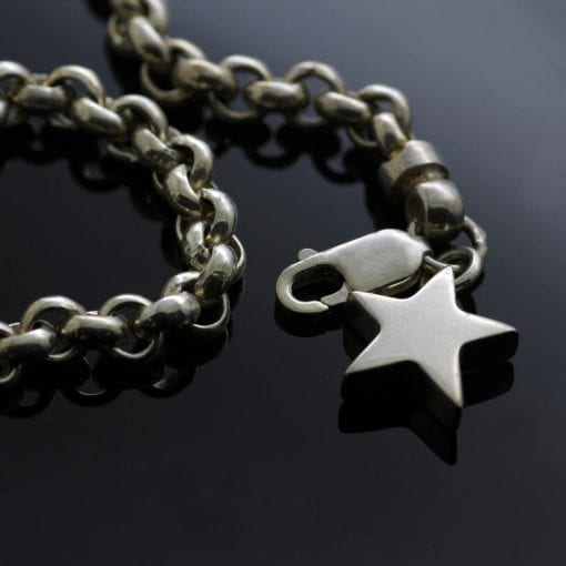 Modern solid Sterling Silver charm bracelet with handmade Star charm
