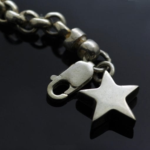 Contemporary solid Silver charm bracelet with handmade Star charm