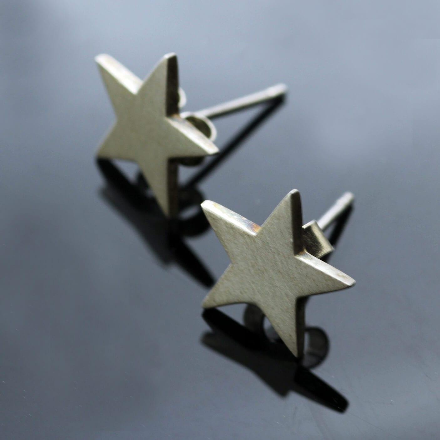 Handmade solid Sterling Silver Star stud earrings