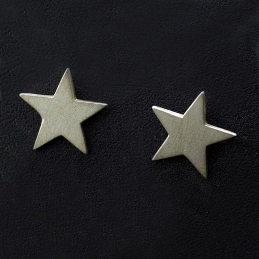 Contemporary sterling silver handmade star charm stud earrings