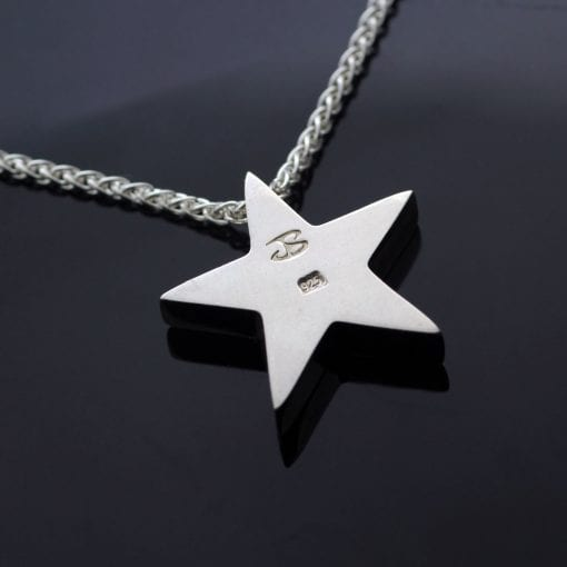Hallmarked solid Sterling Silver Star charm necklace handmade