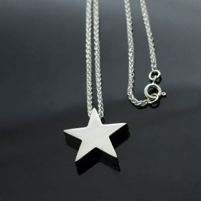 Handmade Star charm in Hallmarked Sterling Silver on modern Spiga chain