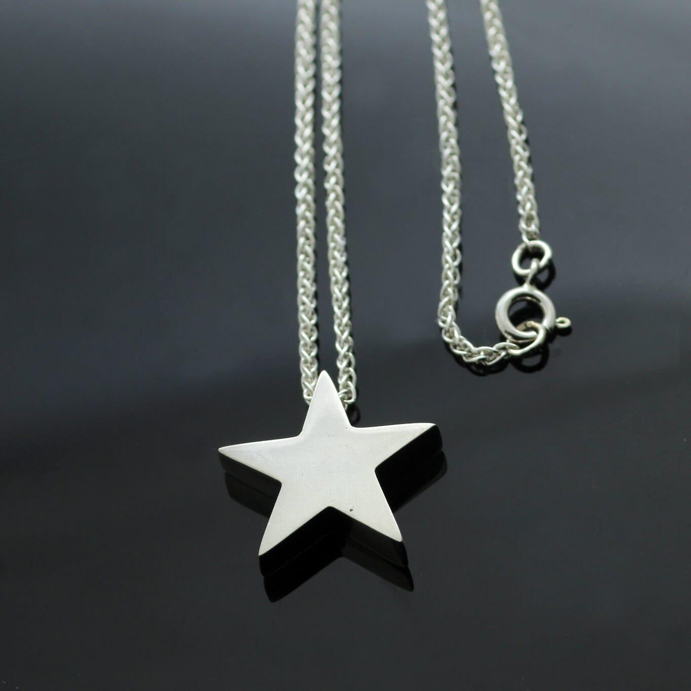 Handmade Star charm in Hallmarked Sterling Silver on modern Spiga chain