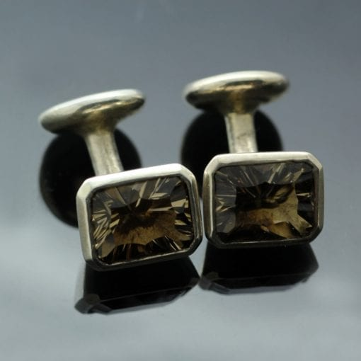 Optix cut Smokey Quartz gem and Sterling Silver handcrafted cufflinks
