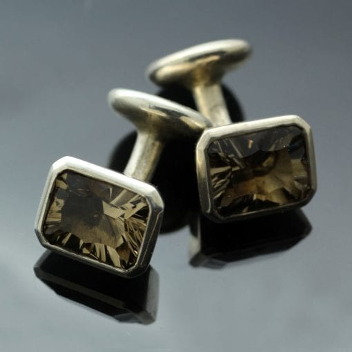 Smokey Quartz Optix cut gemstone Silver handmade cufflinks