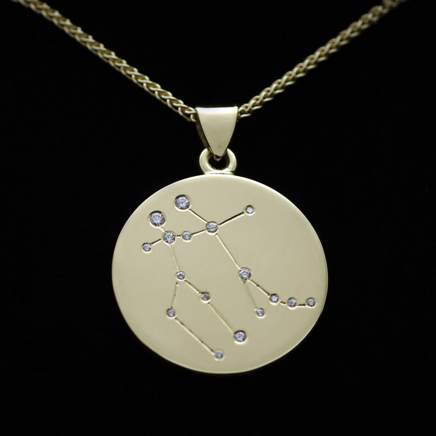 Bespoke handmade 18ct Yellow Gold Zodiac pendant with Diamonds