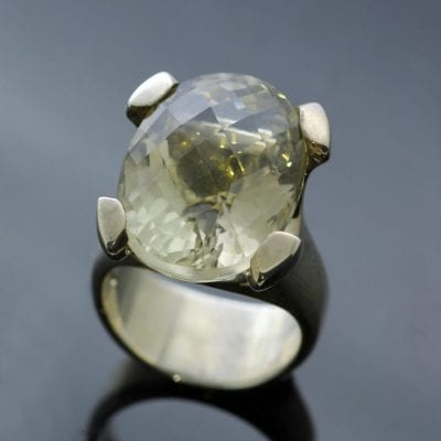 Oval cut Lemon Quartz gemstone Sterling Silver ring