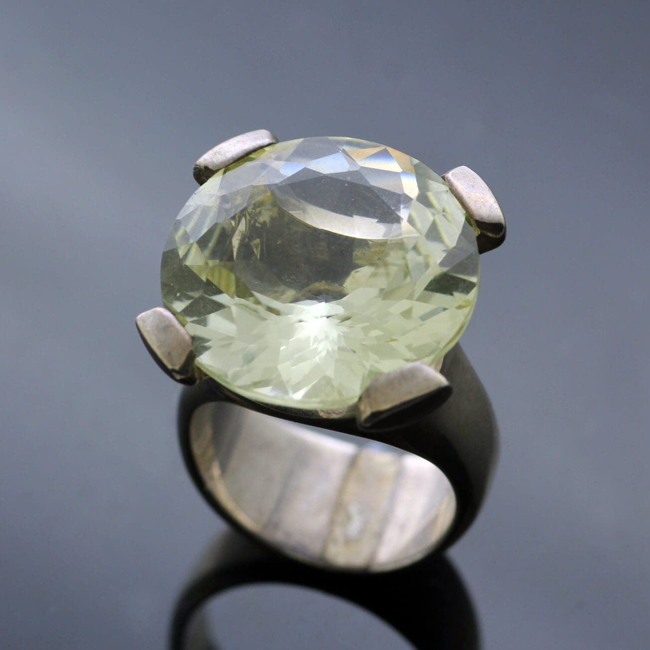 Lemon Quartz gemstone Sterling Silver cocktail ring