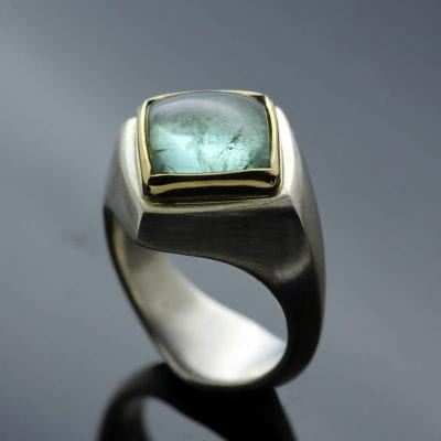 Stunning pale turquoise Tourmaline gemstone Abbey ring