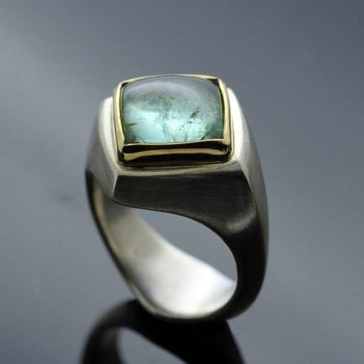 Stunning pale turquoise Tourmaline gemstone Abbey ring