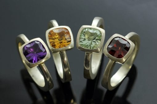 Modern handmade Sterling Silver gemstone