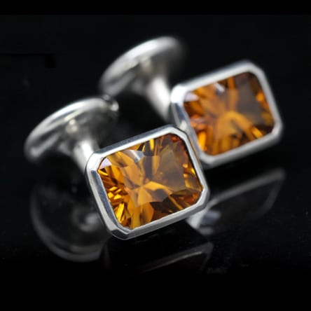 Handcrafted Optix cut Citrine gem and solid Silver mens cuff-links