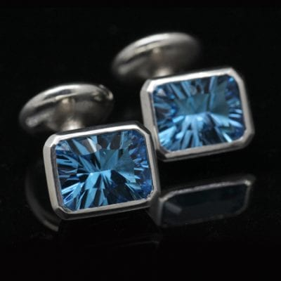 Blue Topaz gemstone Sterling Silver handmade cufflinks