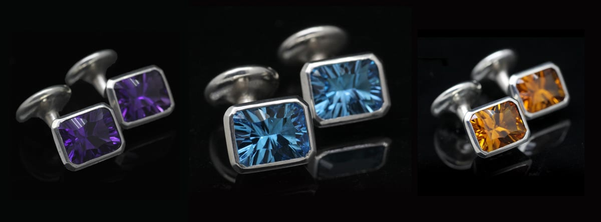 Unique Optix cut gemstone Sterling Silver handmade cufflinks