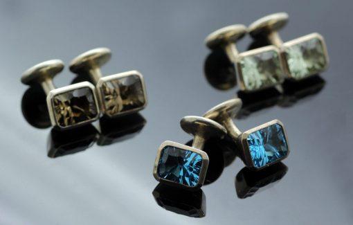 Contemporary Optix cut gemstone Silver handmade cufflinks