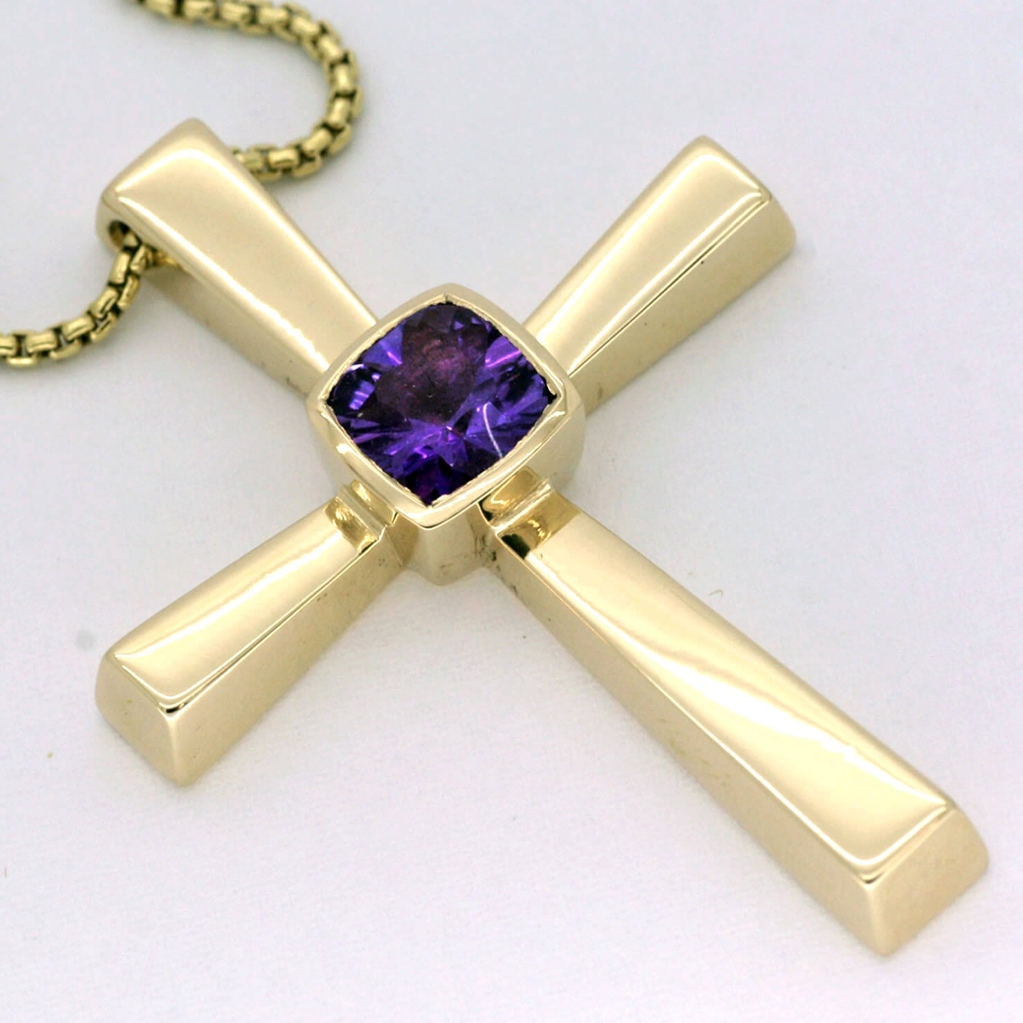 Handmade solid Gold cross set with Optix cut Amethyst