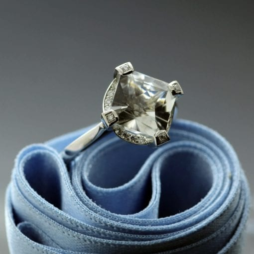 Platinum Gatsby engagement ring, handcrafted as a bespoke commission