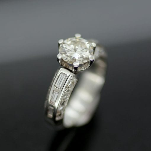 Bespoke, handcrafted Diamond and Platinum engagement ring by Julian Stephens