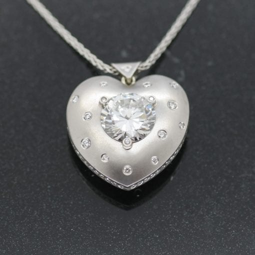Handmade Platinum Heart necklace with Diamonds