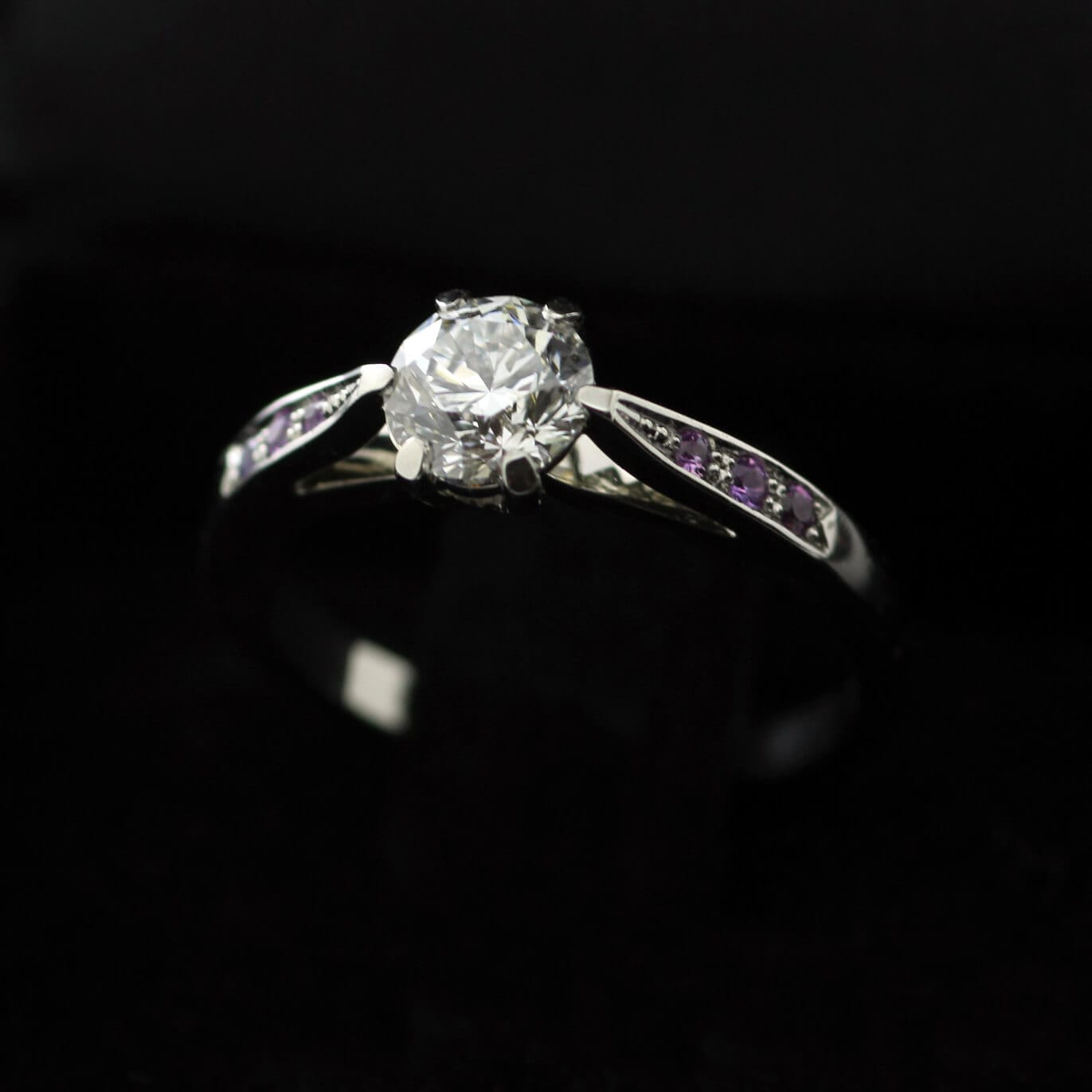 Bespoke handcrafted Platinum, Diamond and Pink Sapphire engagement ring