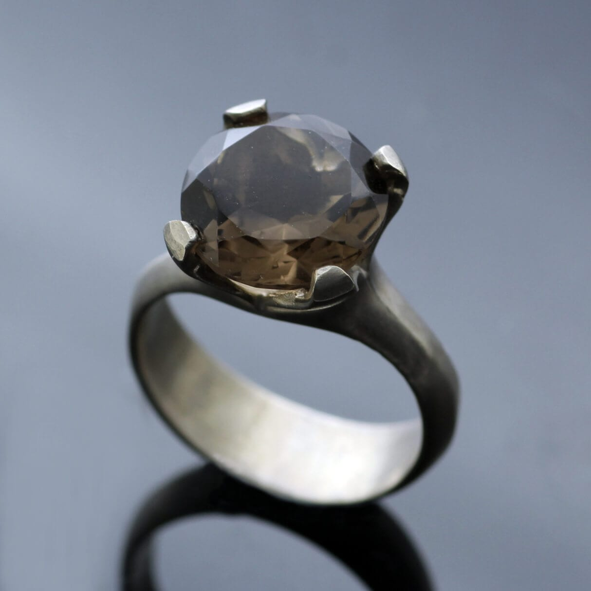 Smokey Quartz Sterling Silver modern handmade gemstone statement ring