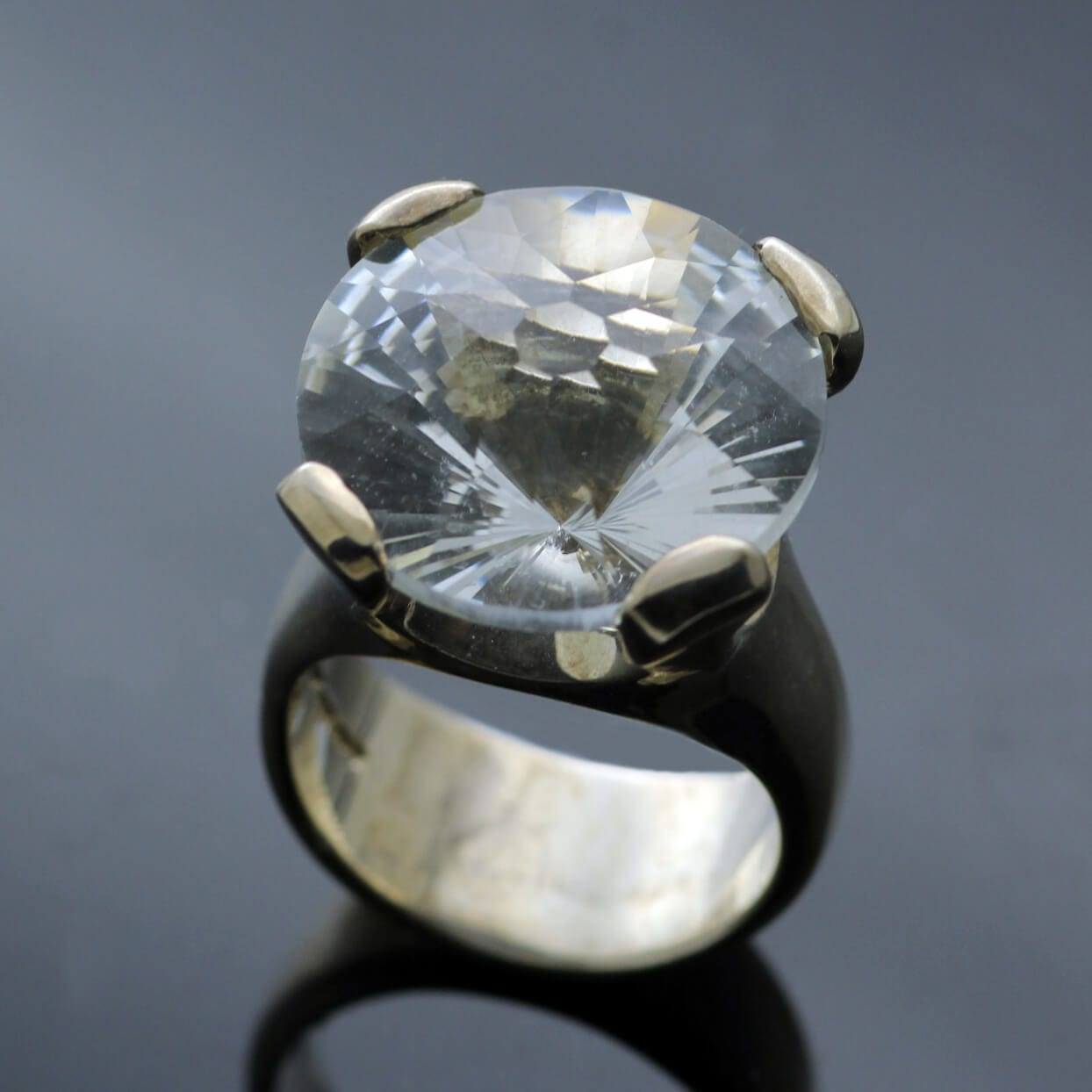 Contemporary White Topaz fancy cut gemstone silver handmade ring