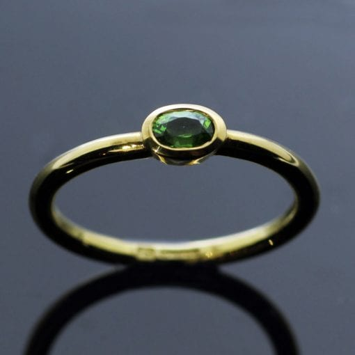 Modern Yellow Gold Oval cut Demontoid Garnet unique stacking ring