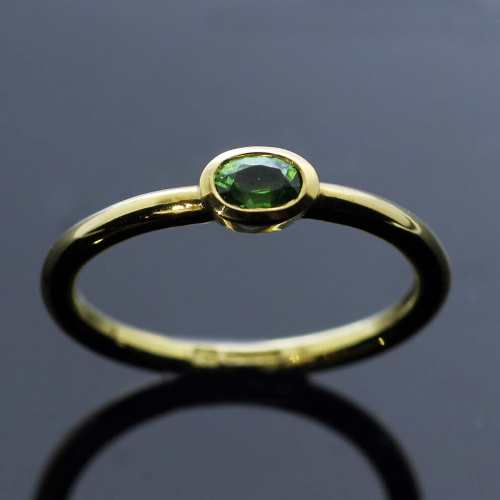 Modern Yellow Gold Oval cut Demontoid Garnet unique stacking ring