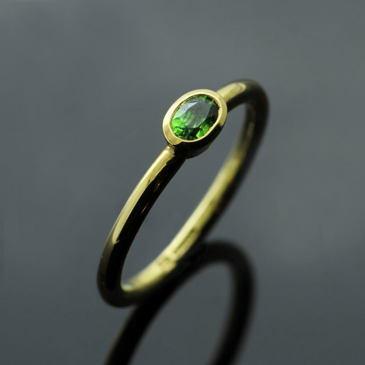 Contemporary handcrafted Yellow Gold Demontoid Garnet stacking ring