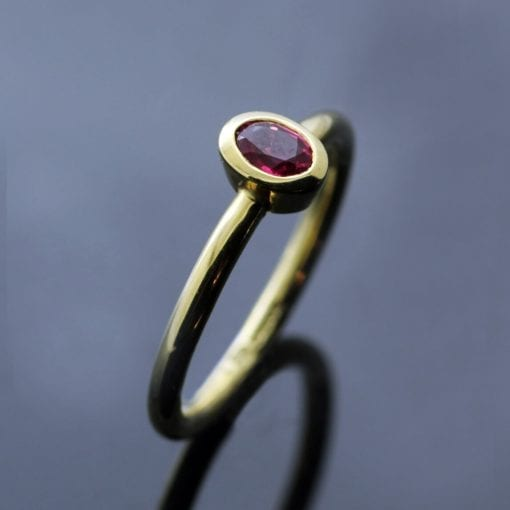 Contemporary Yellow Gold Pink Spinel handmade stacking ring