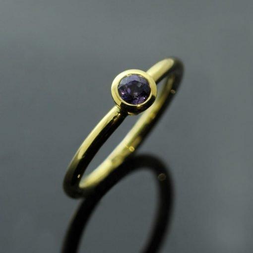 Round Brilliant Purple Sapphire Yellow Gold handmade stacking ring