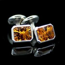 Optix cut Citrine gemstone Sterling Silver handmade cufflinks