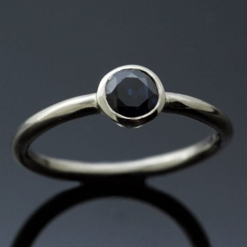 Midnight Blue Round Brilliant Sapphire handmade White Gold modern stacking ring