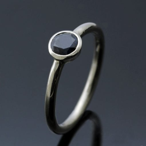 Round Brilliant Sapphire 18ct White Gold handmade modern stacking ring