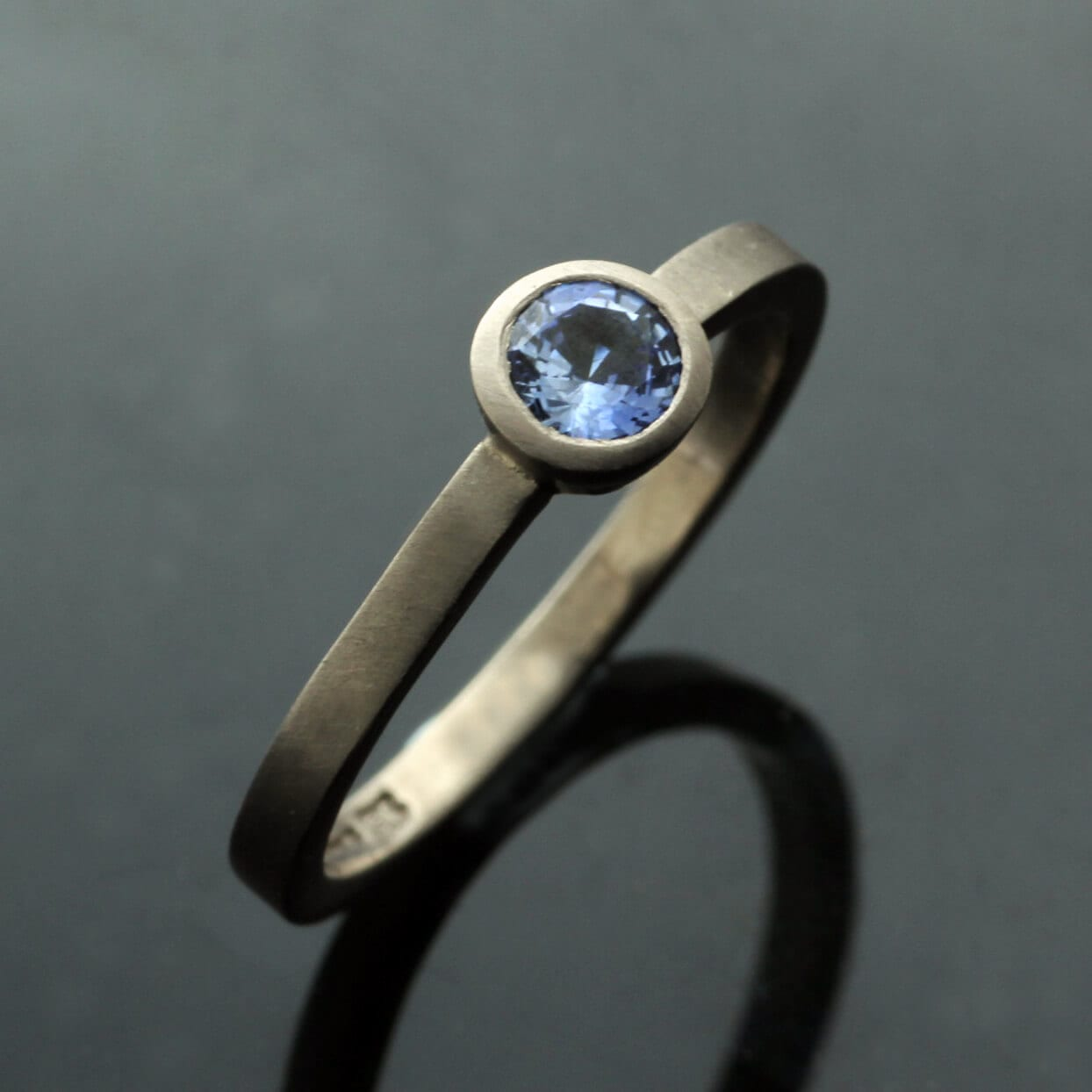Round Brilliant Blue Spinel gemstone stacking ring in 18ct White Gold