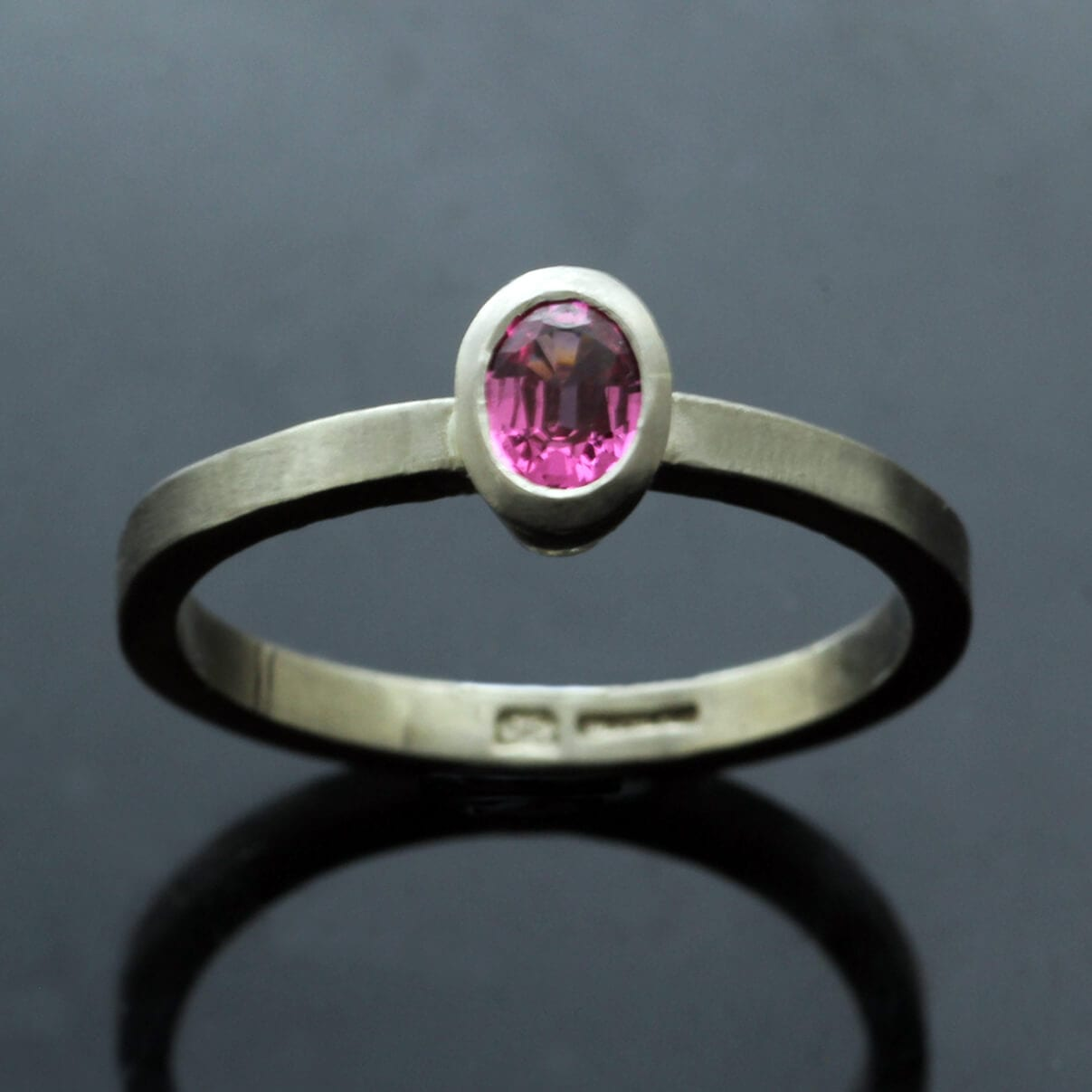 Contemporary stacking ring White Gold Pink Spinel gemstone
