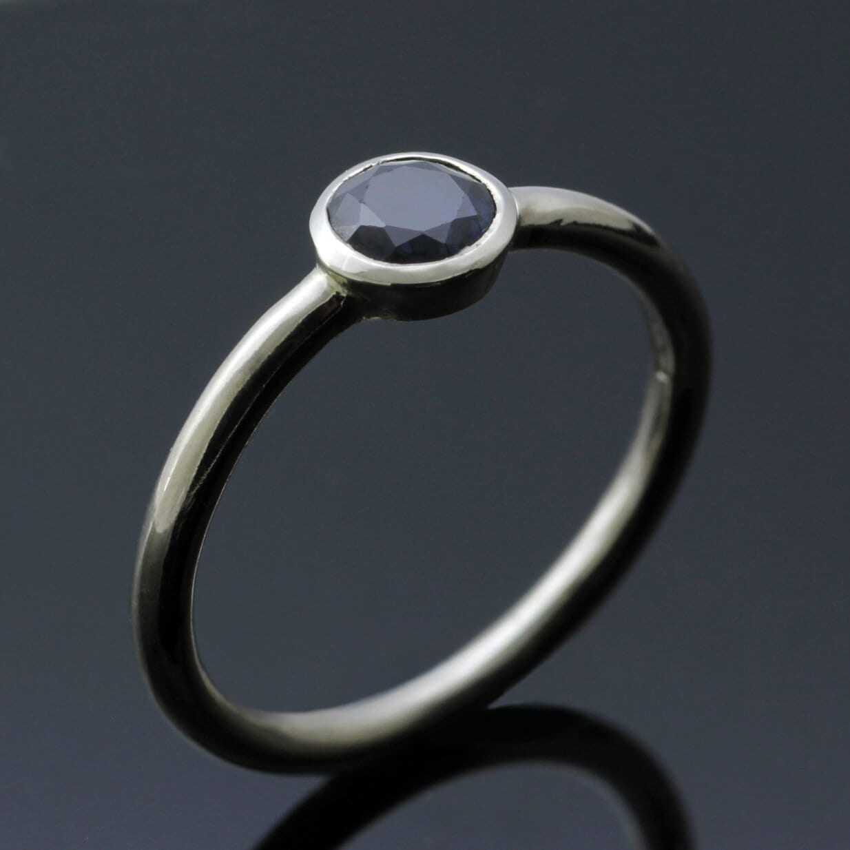 Midnight Blue Round Brilliant Sapphire White Gold modern stacking ring