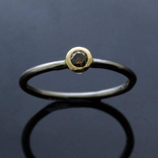 Round Brillliant coffee Diamond set in 18ct White Gold handmade stacking ring