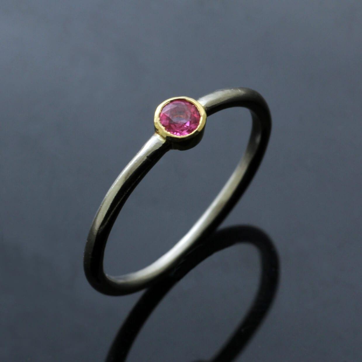 Yellow White Gold stacking ring Round Brilliant Pink Sapphire gemstone