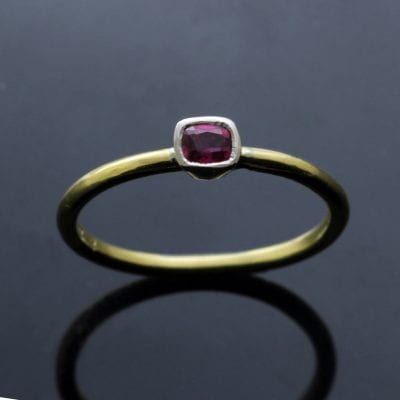 Square cut Ruby Yellow Gold unique modern stacking ring
