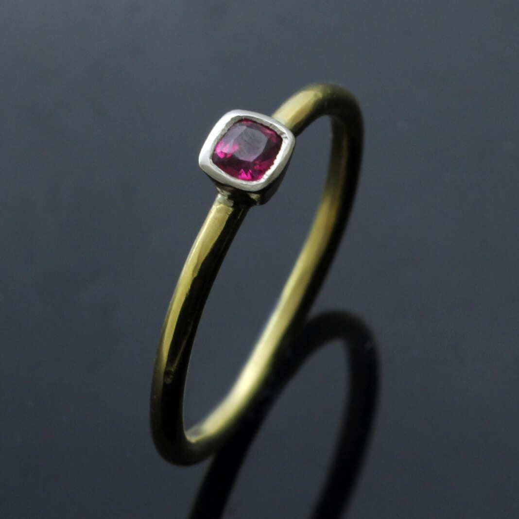 Handcrafted stacking ring Square cut Ruby set in White Gold Yellow Gold ring