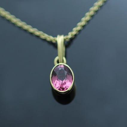Pink Tourmaline Yellow Gold modern birthstone gemstone necklace