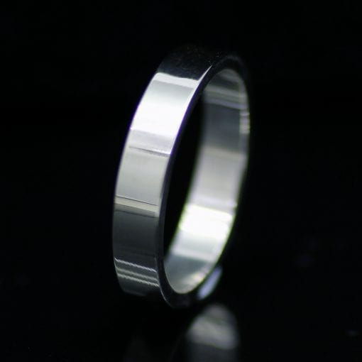 Flat wedding band handmade Palladium 4mm contemporary wedding band