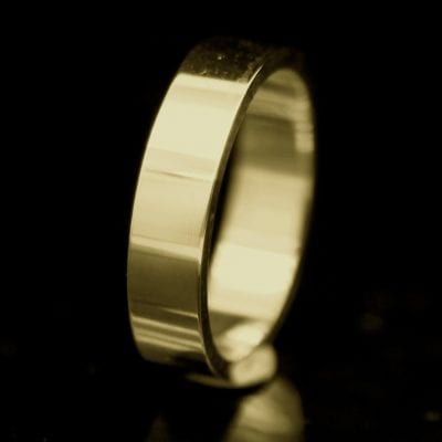 Modern Flat mens wedding band handmade 9ct Yellow Gold