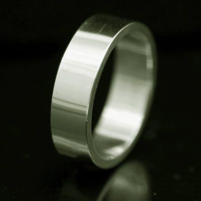 Moder handmade solid18ct White Gold mens Flat wedding ring