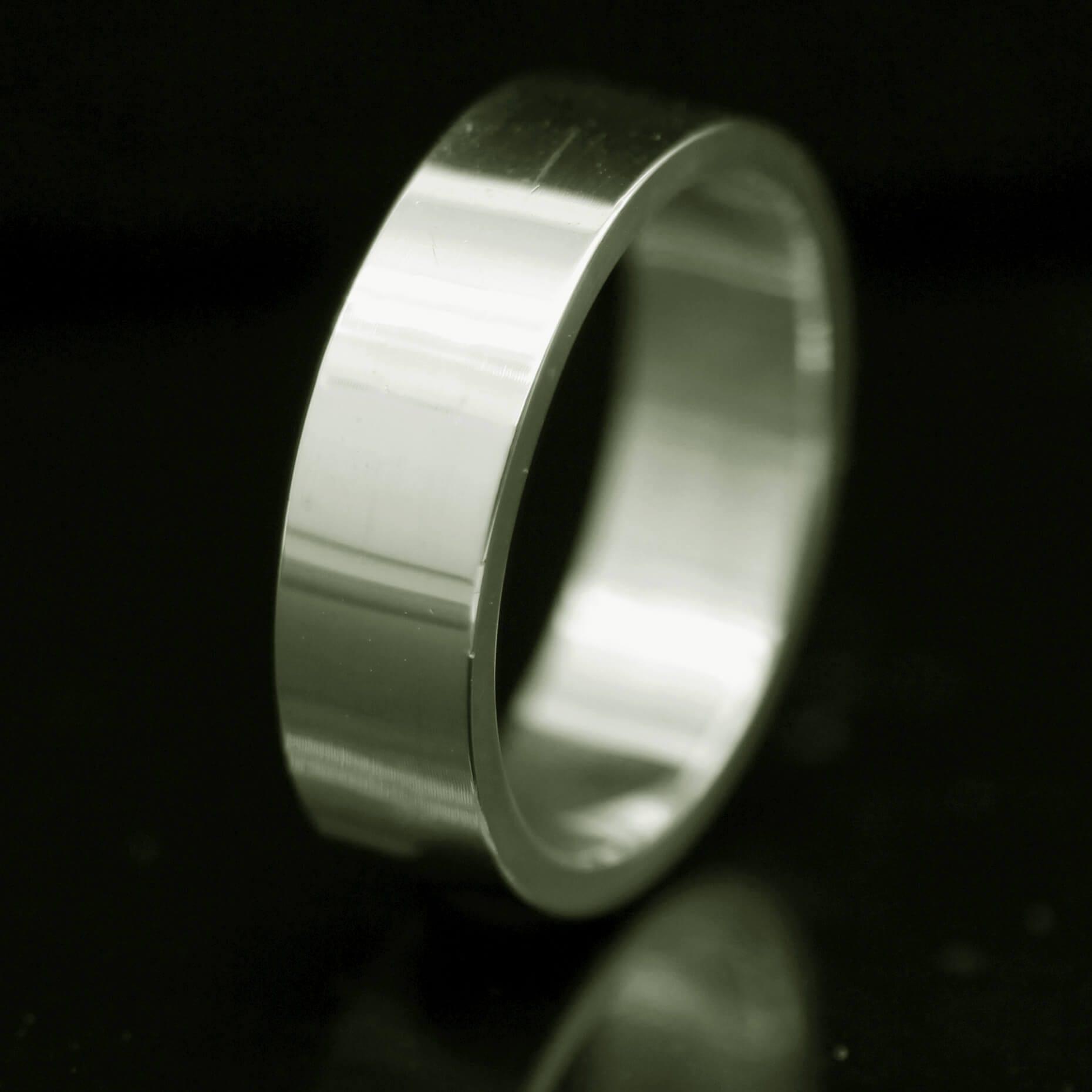 Moder handmade solid18ct White Gold mens Flat wedding ring
