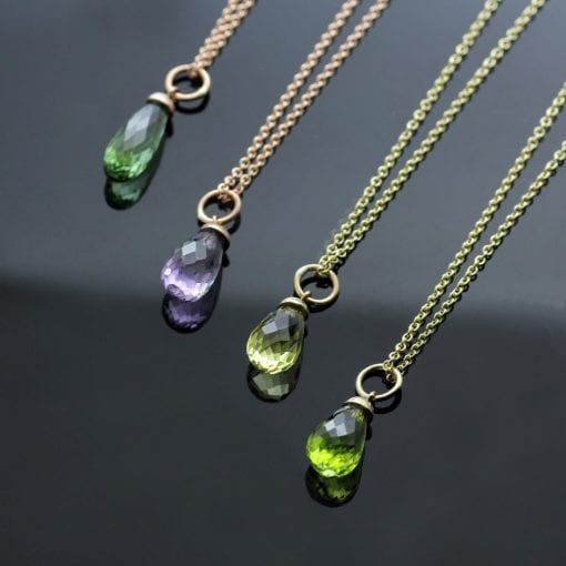Briolette cut gemstone Rose Gold Yellow Gold gemstone necklaces