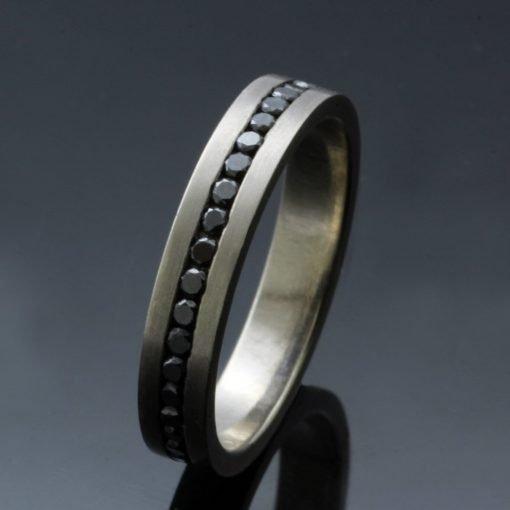 Full Eternity ring 18ct White Gold 1.5mm Black Diamonds handmade