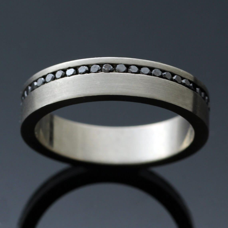 modern full eternity band white gold black diamond ring